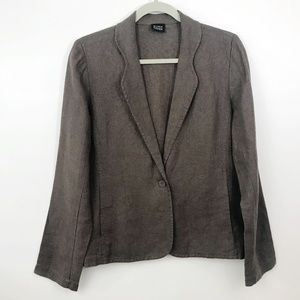 Eileen Fisher Irish Linen Blazer Med Brown